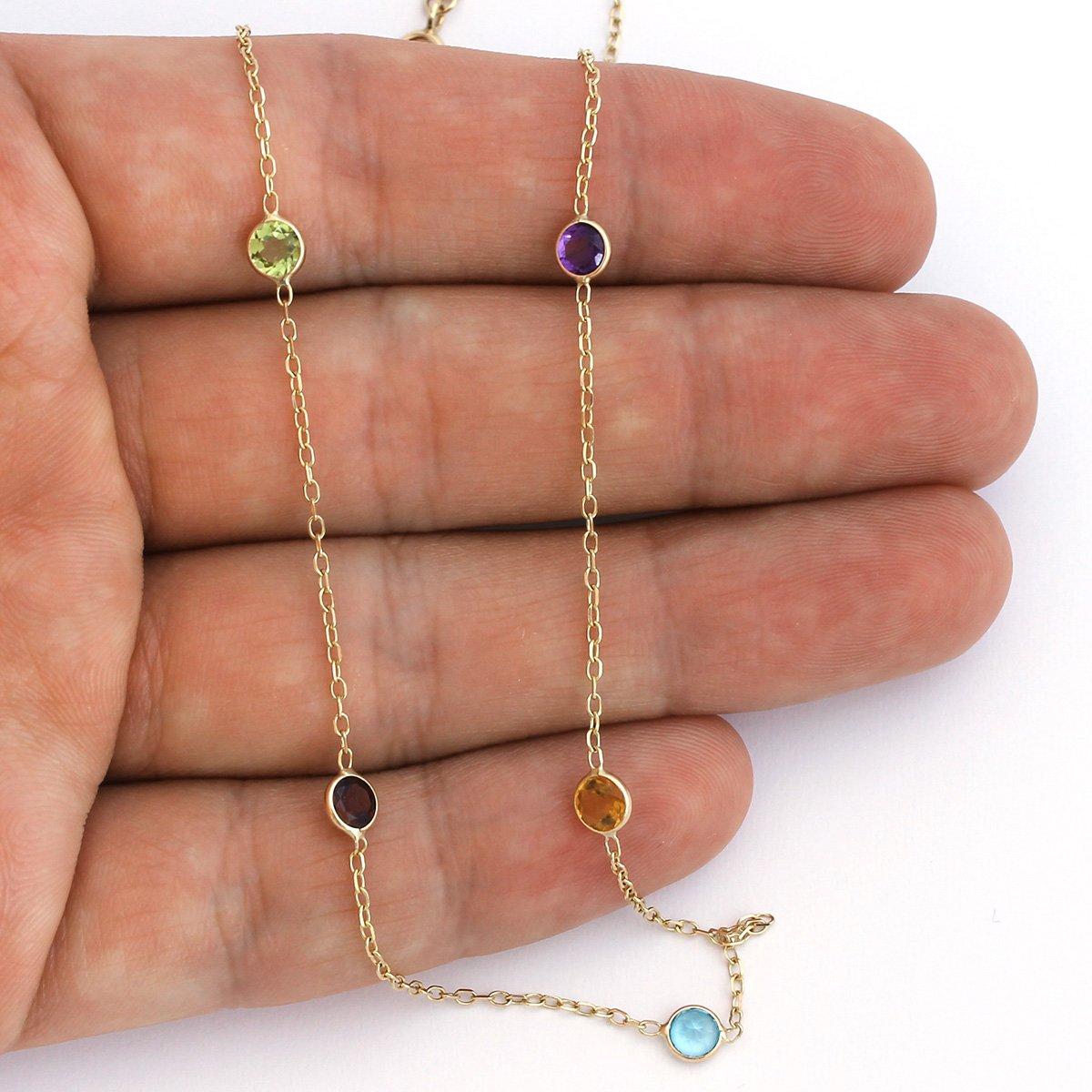 14k Yellow Gold Bezel Set Natural Gemstones Station Necklace, 16'' by Beauniq (Image #4)