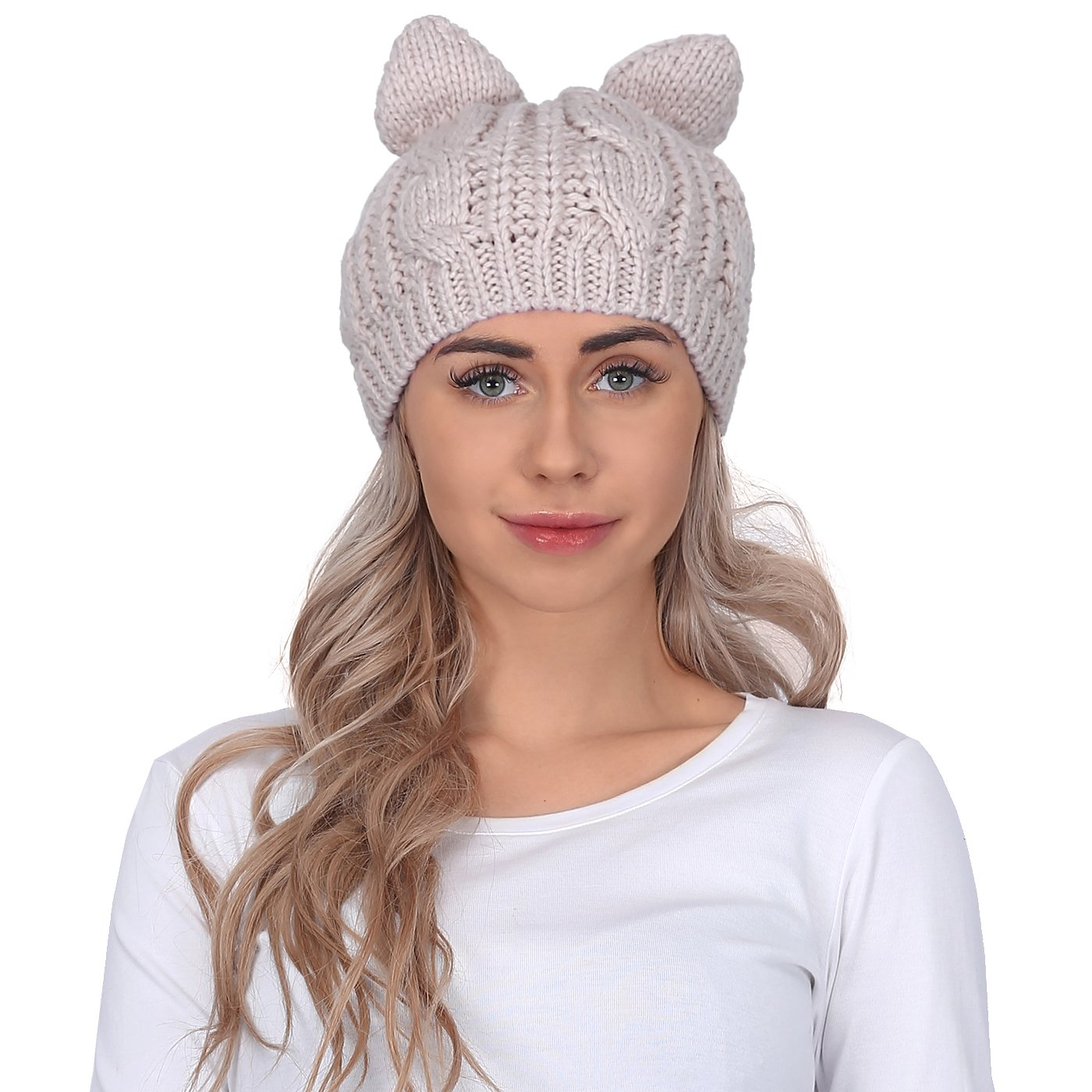 25b520fddcf HDE Women s Knit Beanie Cat Ear Crochet Braided Winter Ski Hat Knitted Cap  at Amazon Women s Clothing store