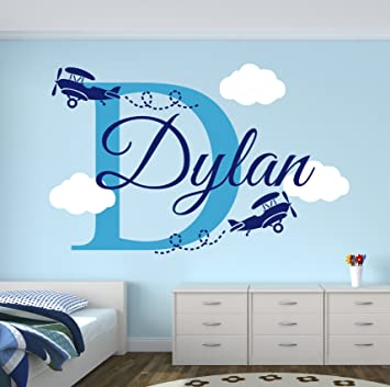 Amazon.com: Personalized Name Airplanes Wall Decal   Boy Name Wall Decal  Kids Room Decor   Clouds Wall Decal Nursery Decor (30Wx20H): Baby