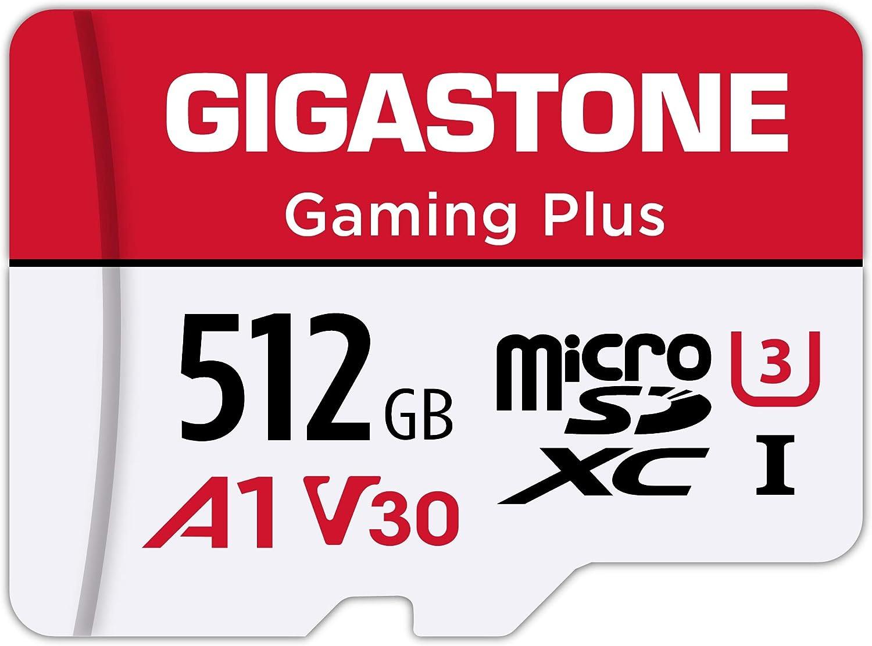 Gigastone 512GB Tarjeta de Memoria Micro SD, Gaming Plus, Compatible con Nintendo Switch, 100 MB/s de Alta Velocidad, Grabación de Video 4K, Micro SDXC UHS-I, A1 Ejecutar aplicación, Clase 10