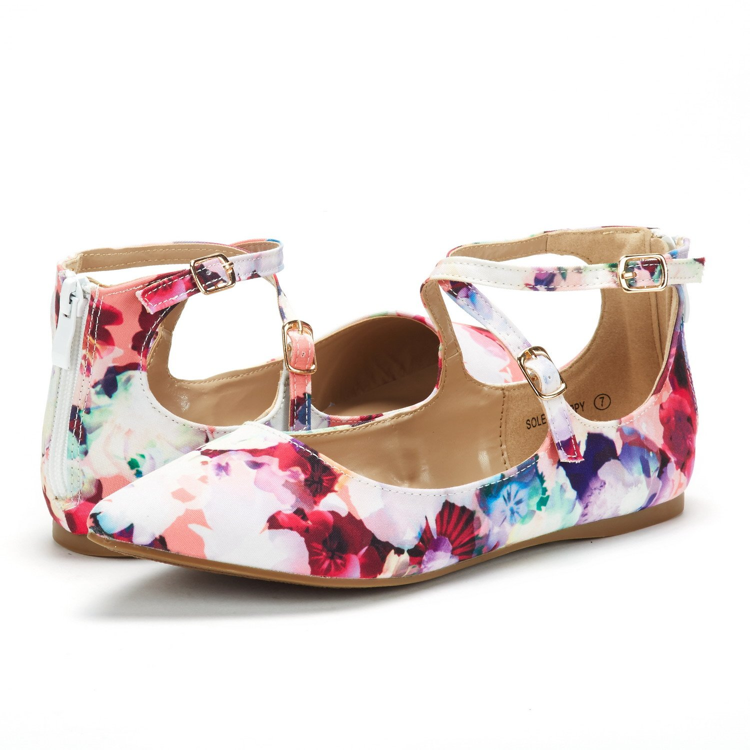 DREAM PAIRS Womens Ankle Straps Marry Jane Ballerina Flat Shoes