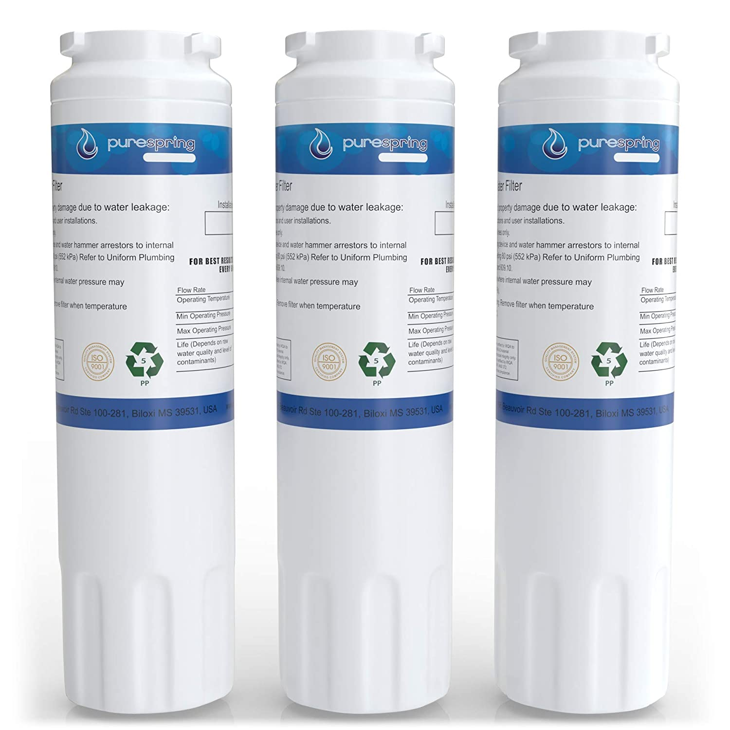PureSpring Replacement Refrigerator Water Filter, Compatible with Viking RWFFR, Maytag UKF8001, 67003523, 4396395, Kenmore 46-9006, PUR Filter 4 & Many Others (3 Pack)