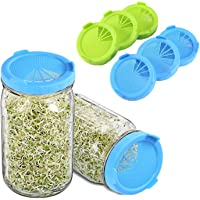 Plastic Sprouting Lids, DIFENLUN 6 Pack Sprouting Jar Lids for Wide Mouth Mason Jars Canning Jars, Sprout Strainer Lids for Growing Broccoli, Alfalfa, Bean Sprouts