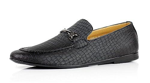 Jas Hombre Modelo Serpiente Elegante Zapatos sin Cierres Italiano Moderno Vestido Formal Mocasines - Negro,