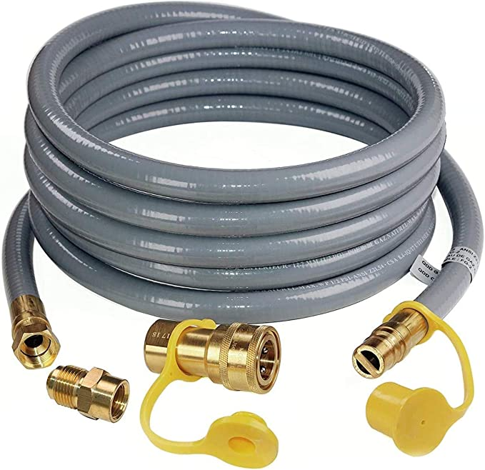 GASPRO 12 Feet 1//2 ID Natural Gas Hose,Quick Connect Disconnect with 3//8 Female by 1//2 Male for Outdoor NG//Propane Appliance
