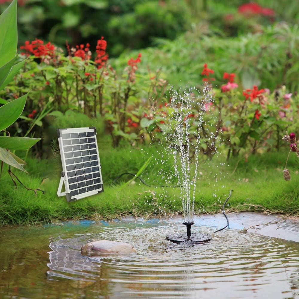 Rociado de Agua para Ba/ño de P/ájaros Fuente Solar Jard/ín Mejorada con 3 Boquilla Acuario y Decoraci/ón de Jard/ín Bomba de Agua Solar Bomba Fuente Solar