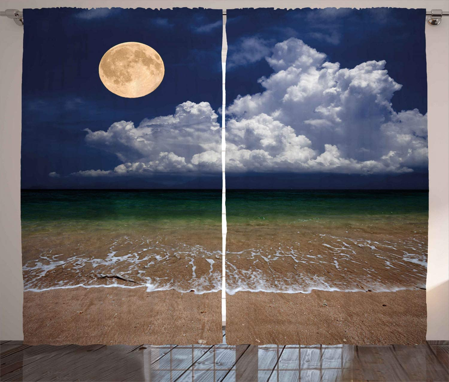 """Ambesonne Nature Curtains, Night Sky Big Full Moon and Fluffy Clouds Over The Ocean Waves Sandy Beach Seashore, Living Room Bedroom Window Drapes 2 Panel Set, 108"""" X 96"""", Dark Blue"""