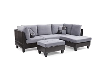 Outstanding Amazon Com Nhi Express Edward Sectional With Ottoman Gray Unemploymentrelief Wooden Chair Designs For Living Room Unemploymentrelieforg