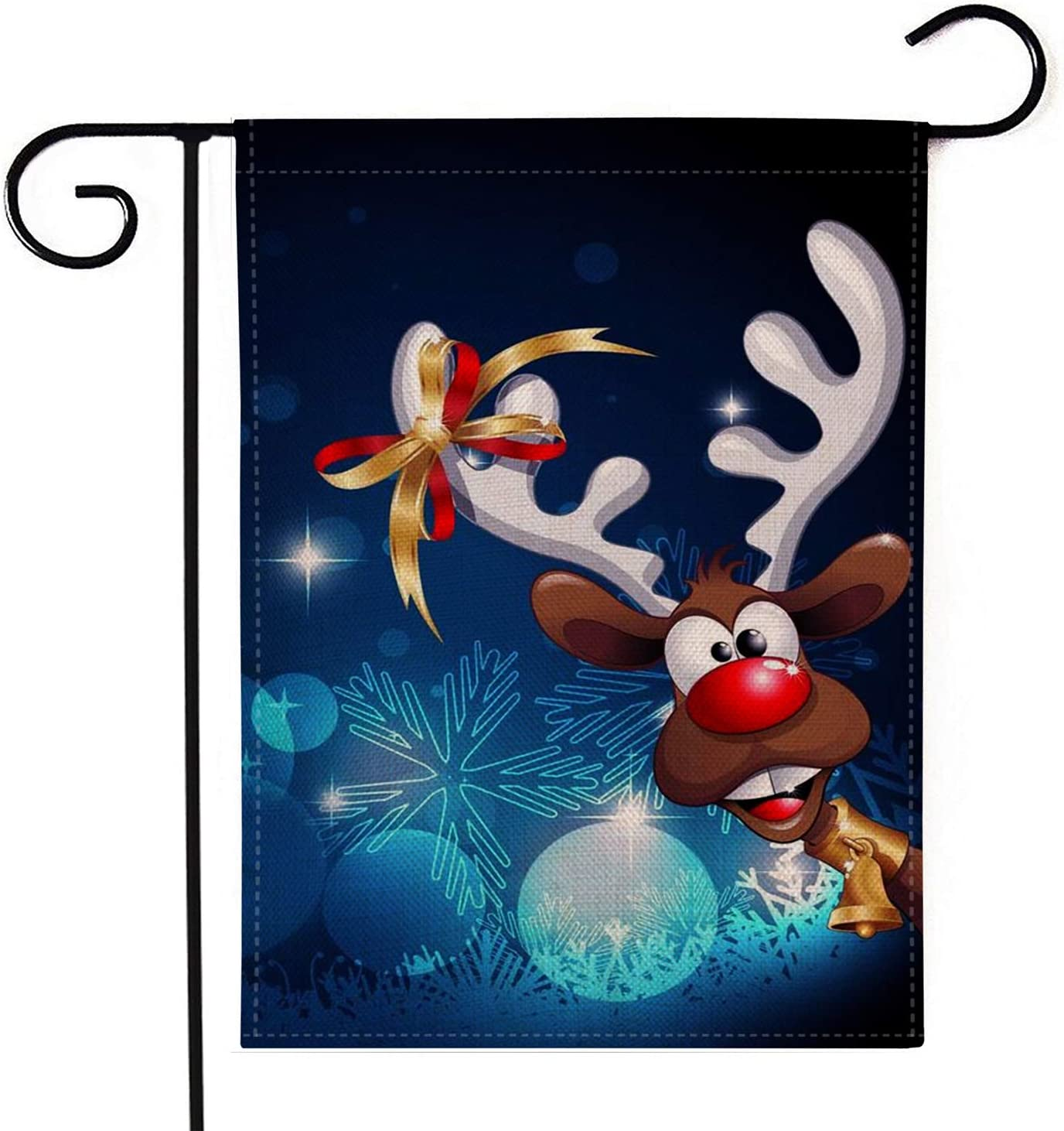 YINGXIANG Christmas Garden Flag Double Sided Flags Welcome Merry Christmas Flags Elk 12.5x18.5 Inches Winter Rustic Yard Signs Yard Outdoor Decorations