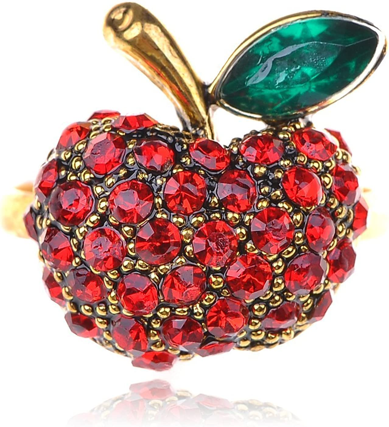 Alilang Women's Golden Tone Shine Red Ruby Rhinestones Apple Fruit Green Leaf Ring