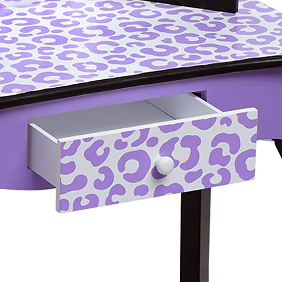Teamson Kids Fashion Prints Vanity Set tavolo e sgabello leopardo viola//nero