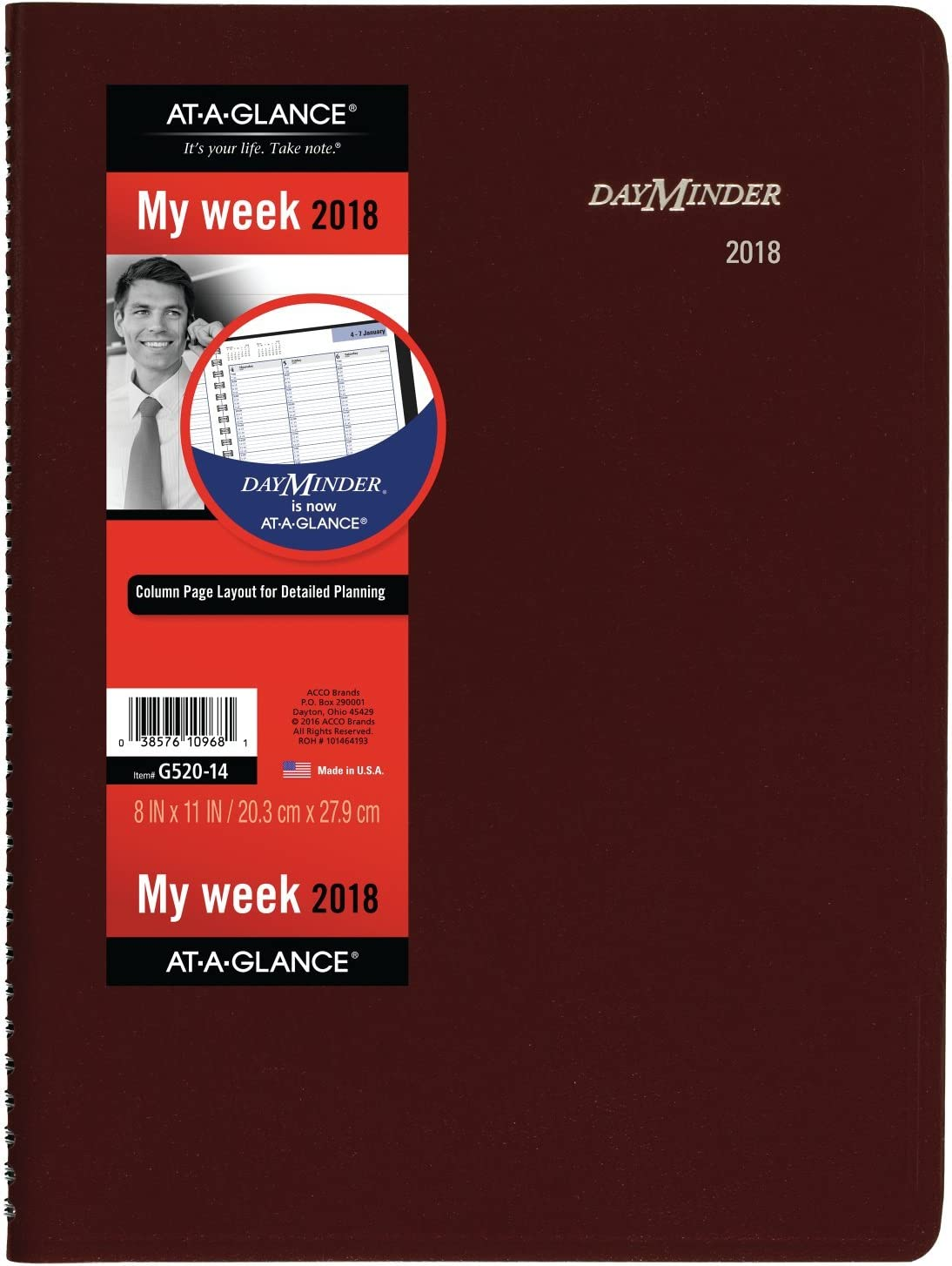 "AT-A-GLANCE G52014-18 DayMinder Weekly Appointment Book/Planner, January 2018 - December 2018, 8"" x 11"", Burgundy (G52014)"