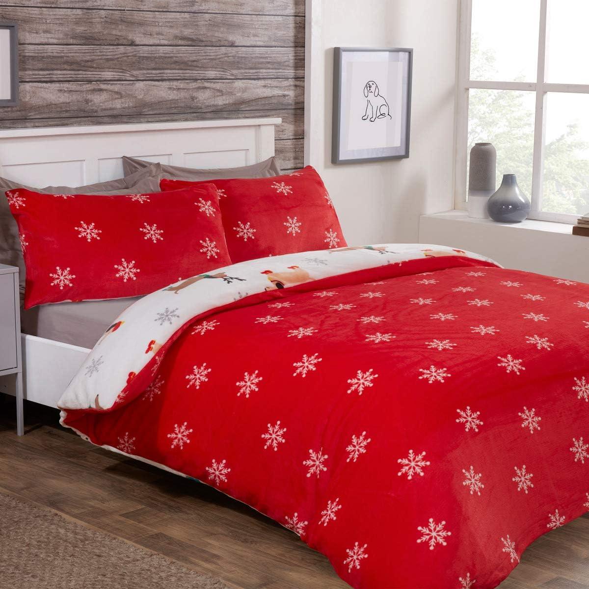 Sleepdown Winter Sausage Dogs Flannel Fleece-Double Reversible Bedding Set and Pillowcases Multicolour