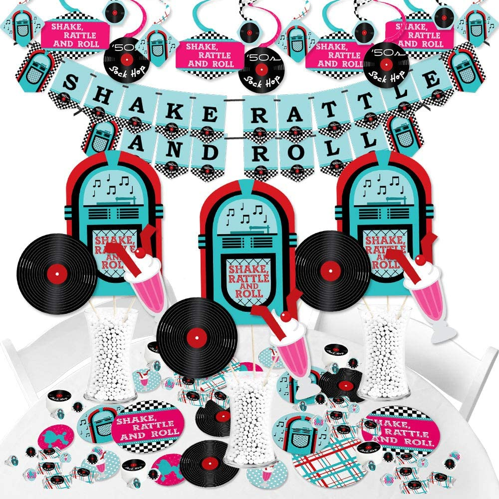 Big Dot of Happiness 50's Sock Hop - 1950s Rock N Roll Party Supplies - Banner Decoration Kit - Fundle Bundle