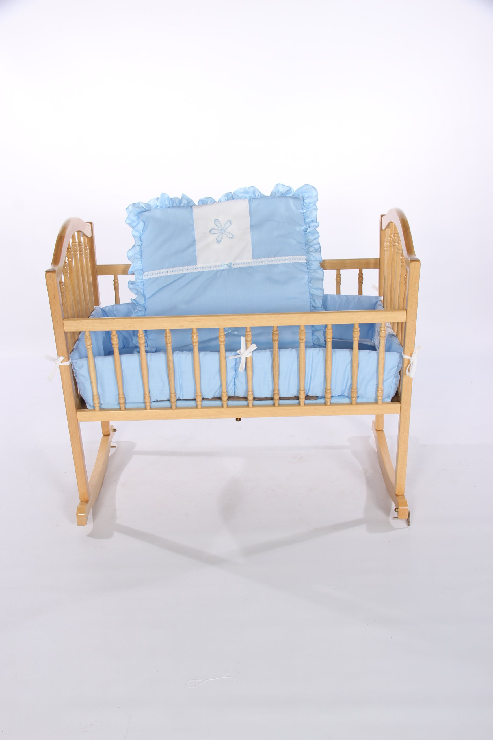 Baby Doll Bedding Solid with Flower Applique Cradle Bedding Set, Blue