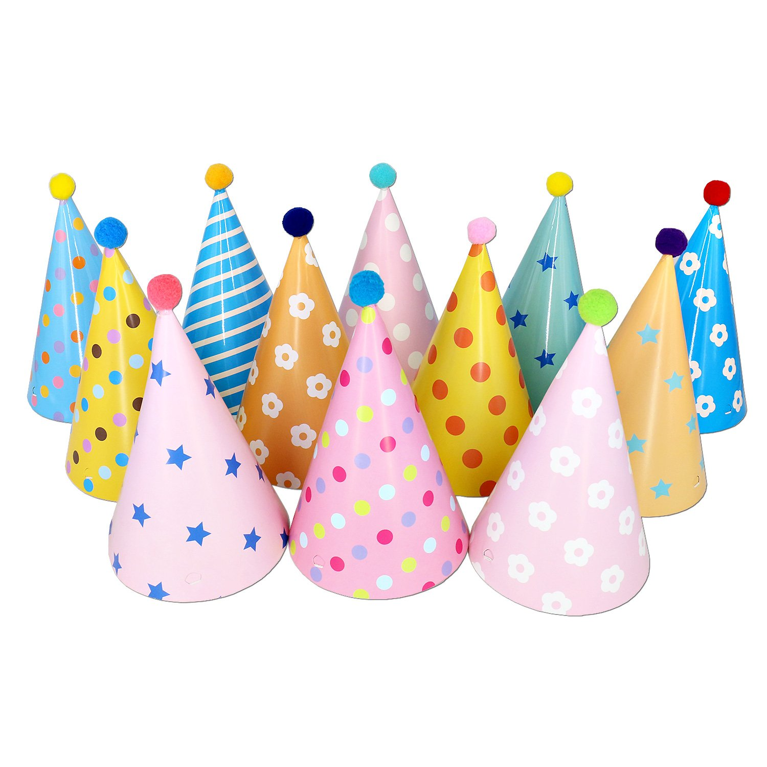 Birthday Party Cone Hats with Pom Poms,12 Pack
