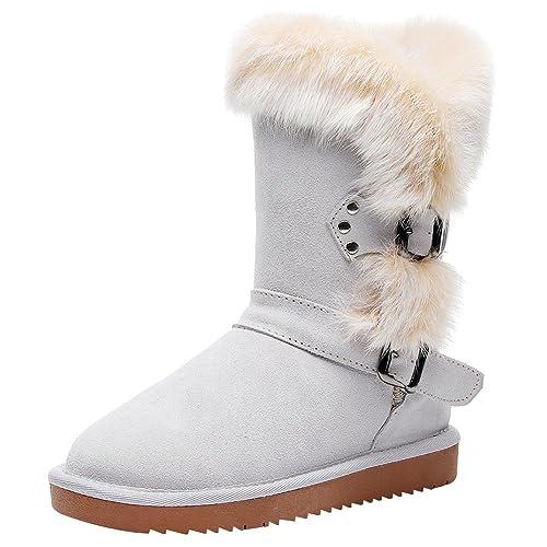 Jamron Mujer Moda Piel Genuina Mitad de la Pantorrilla Botas de Invierno Piel de Imitación Caliente Forrada Botas de Nieve: Amazon.es: Zapatos y ...