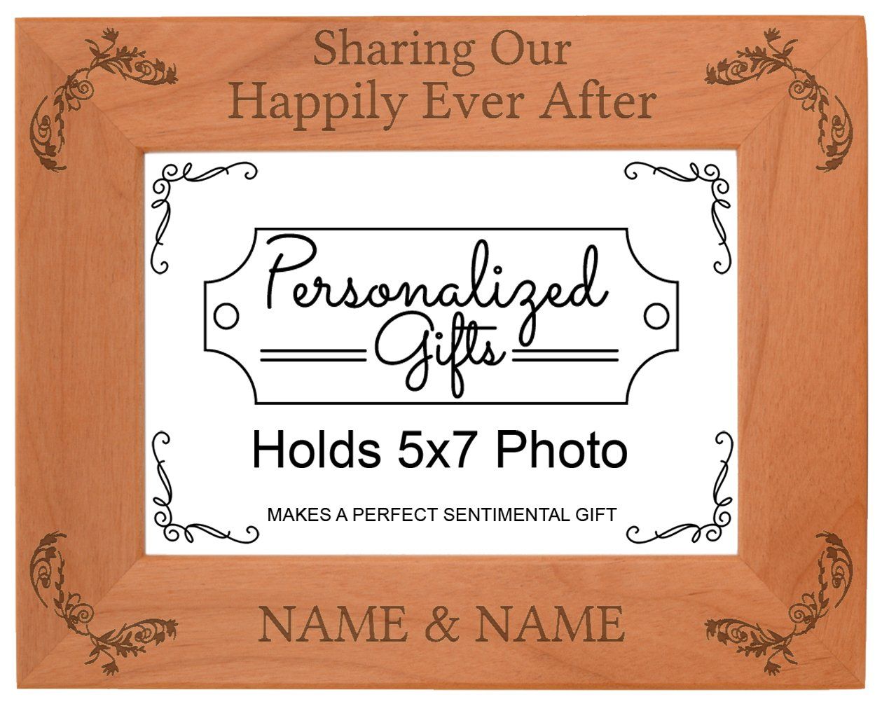 Custom Wedding Gift Sharing Happily Personalized Natural Wood Engraved 5x7 Landscape Picture Frame