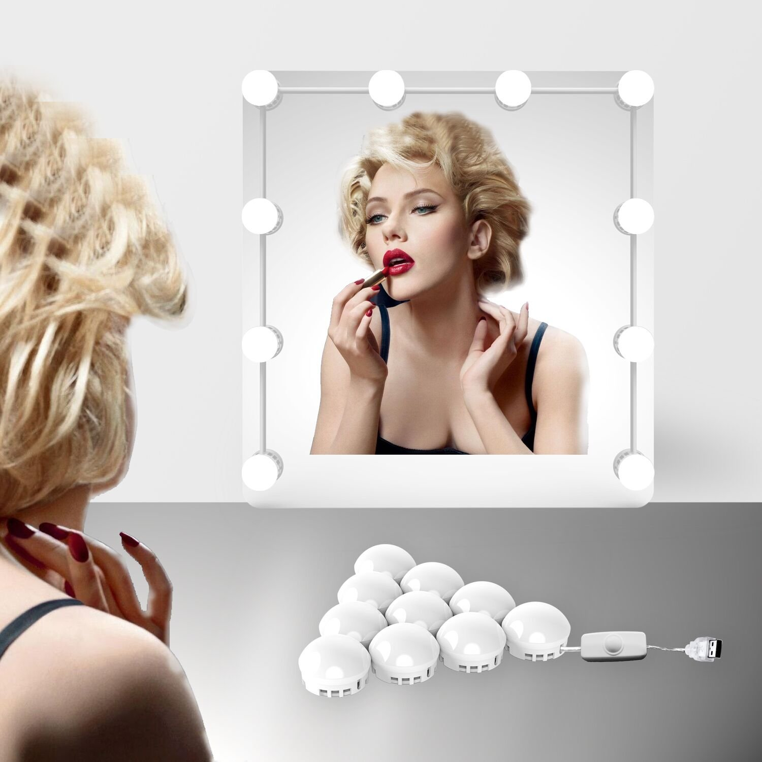 EEIEER Hollywood Style vanity Mirror Lights with 10 Dimmable LED Bulbs Kit , USB Powered Lighting Fixture Strip for Makeup Vanity Mirror Table Set in Dressing Room