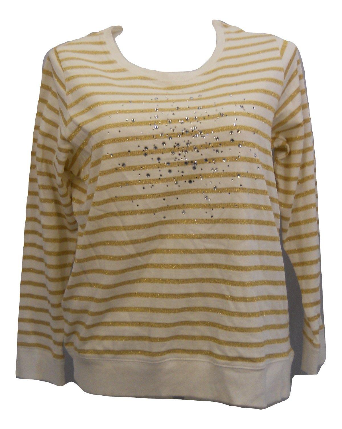 Style & Co. Womens Sweatshirt Plus Size 0X Jeweled White Gold Striped Long Sleeve