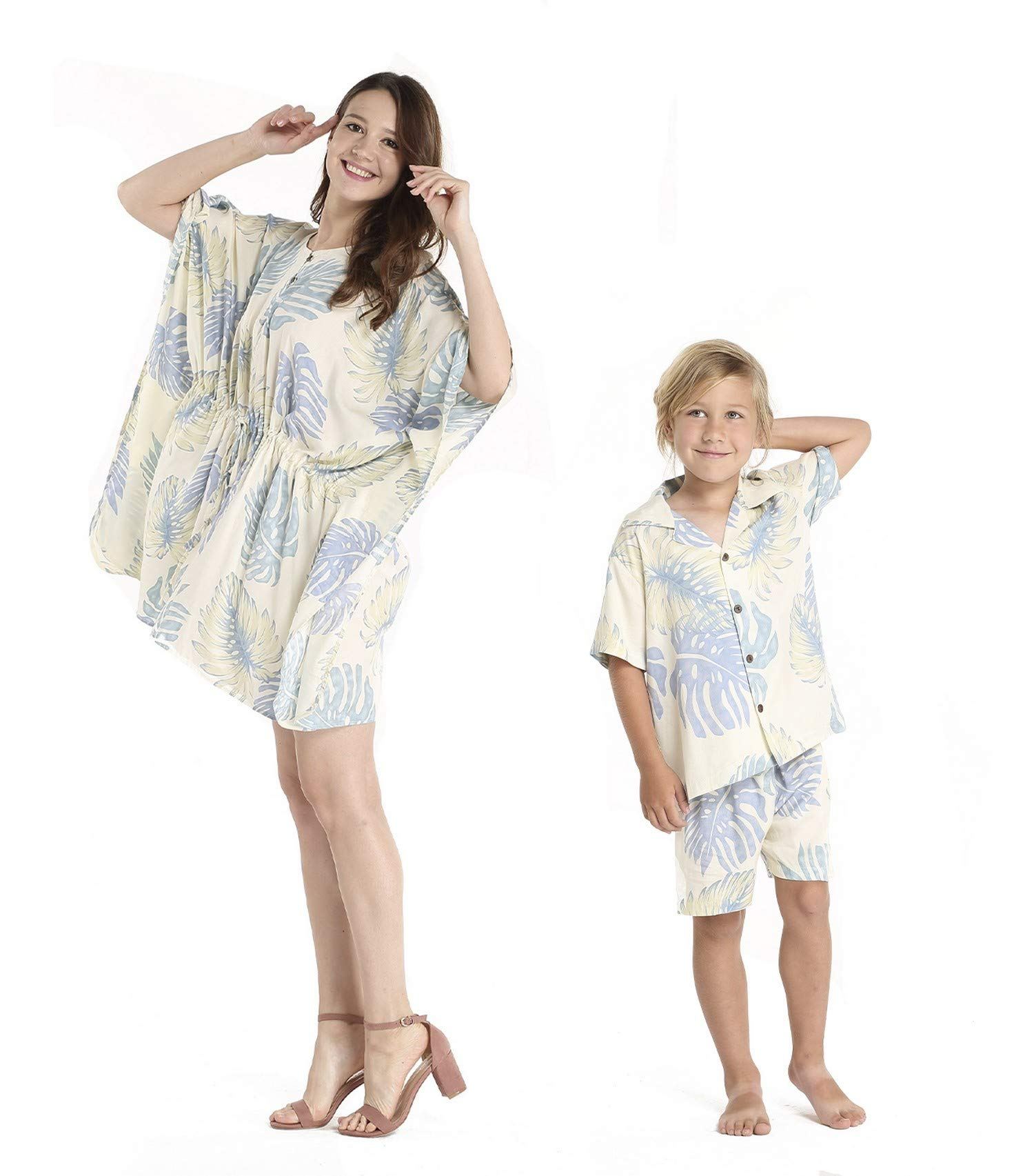 Matching Mother Son Hawaiian Luau Outfit Poncho Dress Shirt in Palm Leaves Cream Women One Size Boy 14