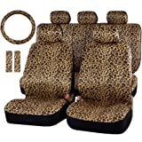 AUTOFAN Zebra/Leopard Car Seat Covers for Full Set with 2 Seat Belt Pads & Universal 15 Inch Steering Wheel Cover Fit for Car