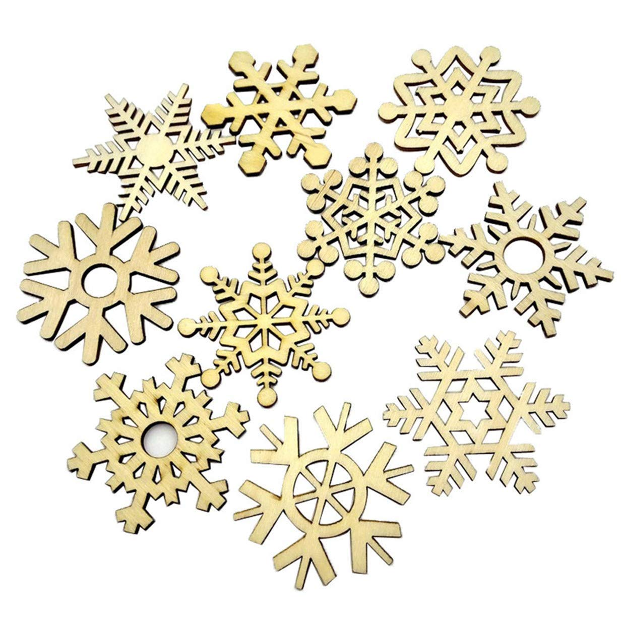 Tcplyn Premium 10pcs Snowflake Wooden Bauble Hanging Decor Christmas Wedding Party Decoration