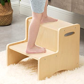 Amazon Com Wooden Toddler Step Stool For Kids Wood City Bathroom Potty Stool Kitchen Stool Two Step Stool For Bedroom Children S Stool With Handles And Safety Non Slip Pads Baby