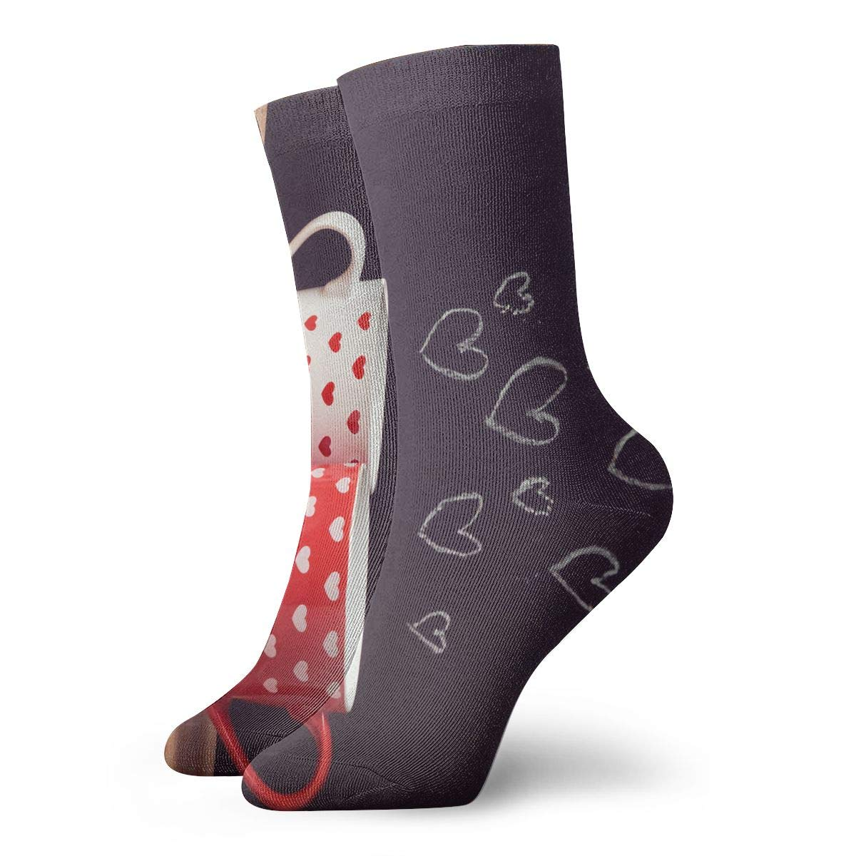 Valentines Day Concept And Heart And Cups Fashion Dress Socks Short Socks Leisure Travel 11.8 Inch