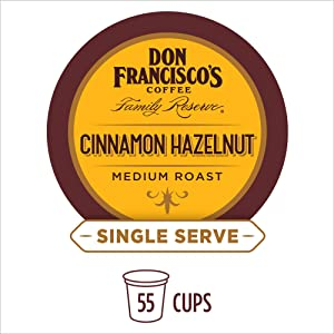 Don Francisco's K-Cup Coffee Pods— Cinnamon Hazelnut Flavored—100% Arabica—Recyclable—Keurig Compatible—55 Pods