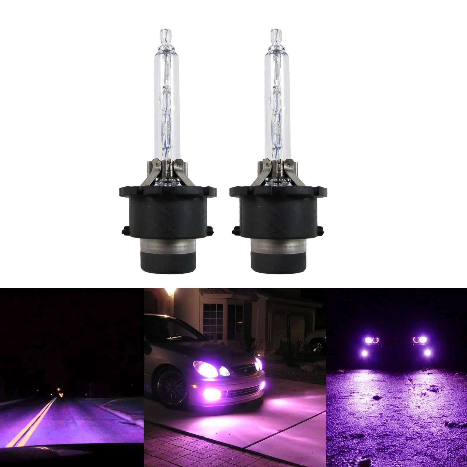 Xotic Tech 2x Purple 12000K HID D2S/D2R HID Direct Replacement Headlight Low Beam Bulbs