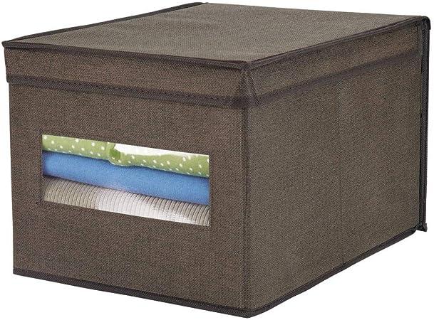 mDesign Caja de almacenamiento apilable con ventana para el armario y el dormitorio – Caja organizadora grande con tapa fabricada en fibra sintética – Organizador de ropa – marrón espresso: Amazon.es: Hogar