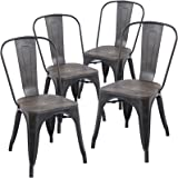 Amazon Com Modern Vintage Metal Stackable Dining Chairs