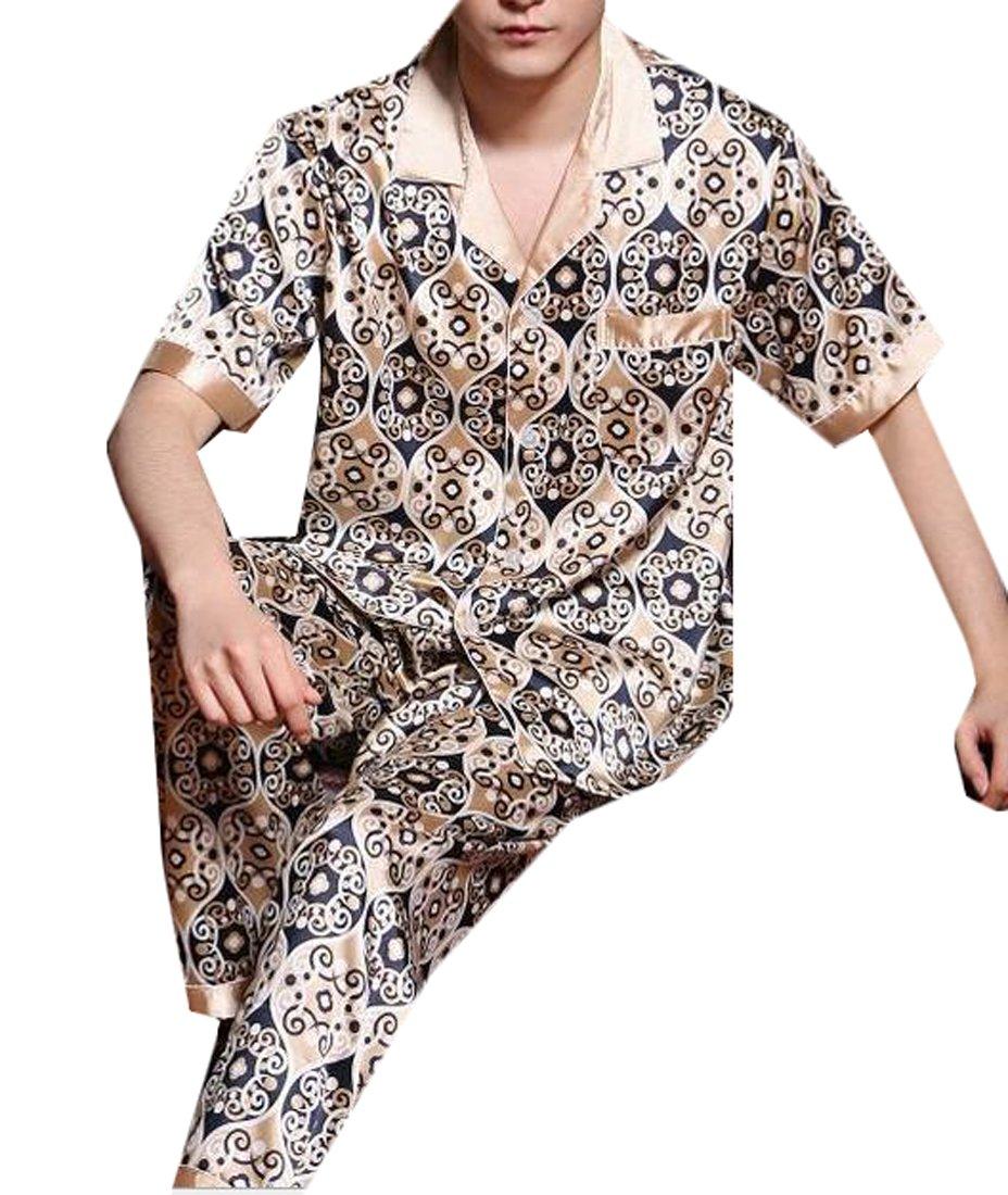 Fulok Mens Fashion Printed Ice Short Sleeve Lounge Pajama Set jewelry blue L