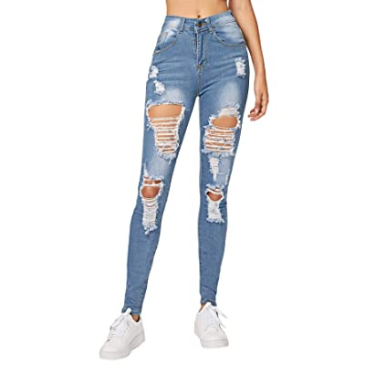 Milumia Women's Casual Mid Waist Skinny Ripped Jeans Denim Pants at Women's Jeans store
