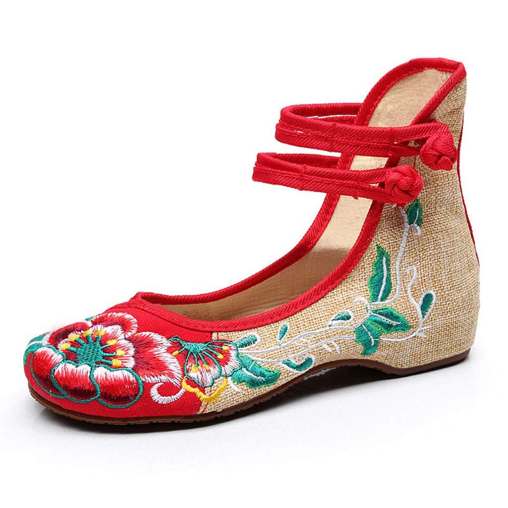 XHX à Chaussures : brodées à la Mode Chaussures Plates Respirantes (Couleur légères Chaussures à Talons Bas pour Femmes Chaussures à Talons (Couleur : Red, Taille : 41) Red 385d183 - tbfe.space
