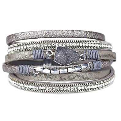 3abe03a11 Eivanc Grey Wrap Leather Bracelet Multi-Layer Natural Stone Rhinestone  Crystal Braided Cuff Bohemia Boho