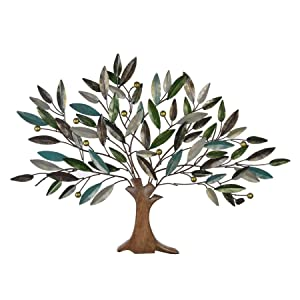 Collectible India Metal Multicolored Tree of Wisdom & Life Wall Hanging Art Sculpture Modern Design Home Office Living Room Decor(Size 46 x 36 Inches)