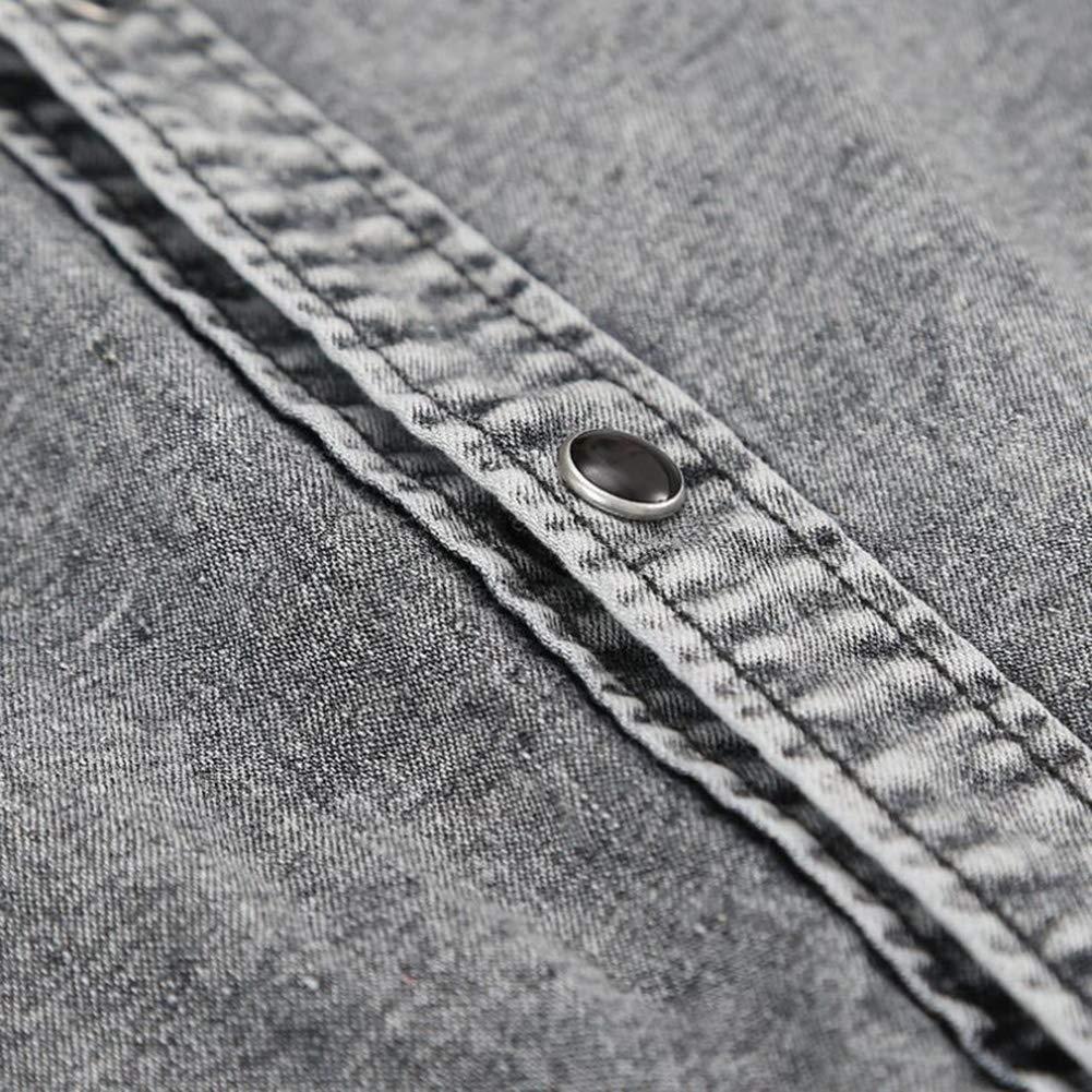 Huiuk Mens Casual Shirts Button Denim Long Sleeve Lapel Shirt Formal Slim Fit Shirt Top,Darkgray,M