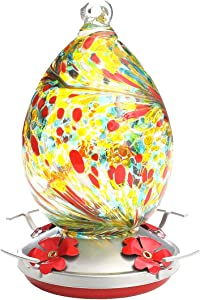 Professional Hummingbird Feeder for Outdoors, Best Color with Hand Blown Glass Bird Feeders, Thick Garden Brand Hummingbird Feeders ,Easy to Clean & Filling ,Leakproof 30 Ounces , Give Hook&Ant Moat.