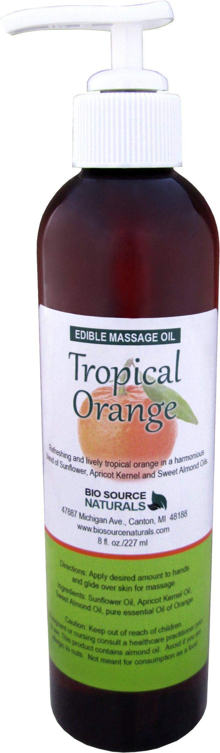 Tropical Orange Edible, Kissable Massage Oil 8 fl. oz. Pump with Pure Orange Essential Oil and all Natural Plant Oils