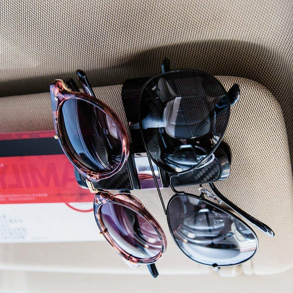 RT CARE Wire Frame Sunglasses Holder Car Double Sunglasses//Glasses Holder for Car Sun Visor-Conveniently Holds 1 Pairs of Sunglasses and Tickets Gold