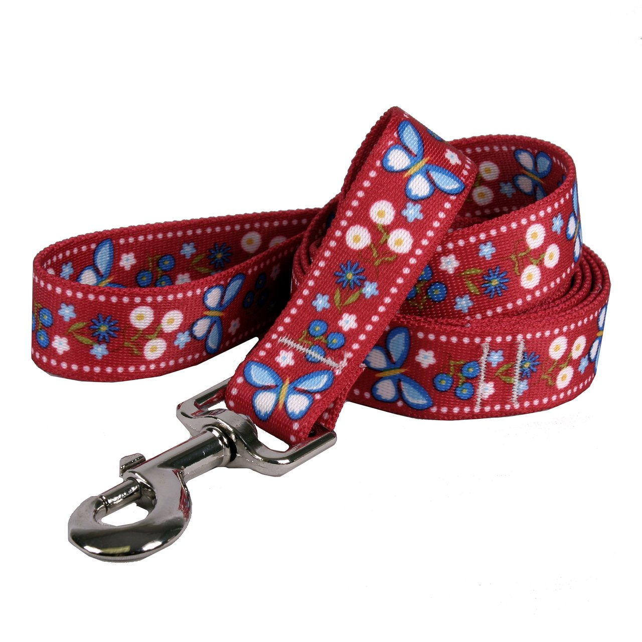 Yellow Dog Design Festive Butterfly Red Dog Leash 3/4'' Wide and 5' (60'') Long, Small/Medium