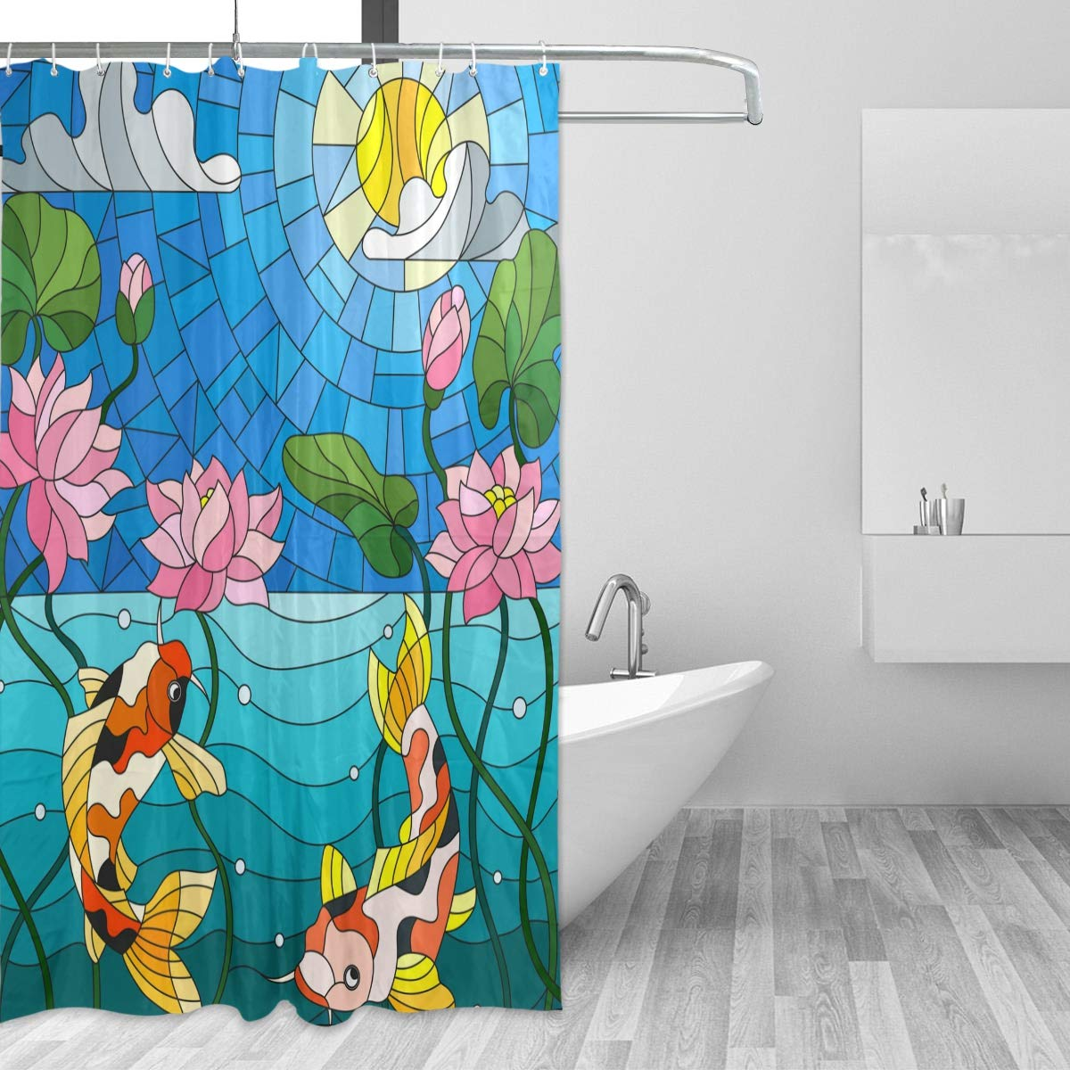 Aquarium Shower CurtainFriendly Sea Animals Tropical Aquatic Habitat Collection Seahorse Crab OctopusFabric Bathroom Decor Set With Hooks