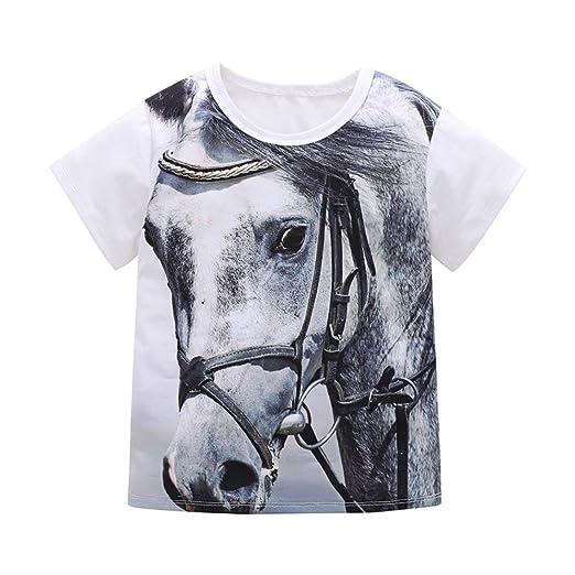 0aa66b238 Amazon.com  KONFA Teen Toddler Baby Boys Girls 3D Horse Print T ...