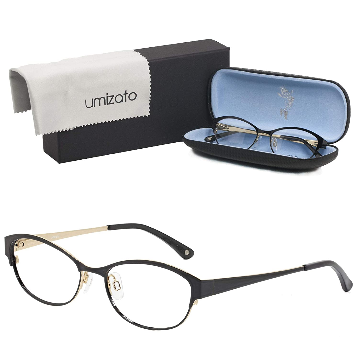 40733bdb1335 Amazon.com: Umizato Prescription Glasses Designer Frames for Women -  Handcrafted Stainless Steel Metal Eyeglasses - Optical Rx (LIMA in Onyx):  Clothing