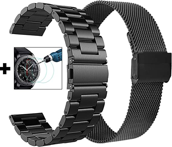 CAGOS Compatible Galaxy Watch 46mm/Gear S3 Bands - 22mm Stainless Steel Band Bracelet Strap Replacement for Samsung Galaxy Watch 46mm/Gear S3 ...