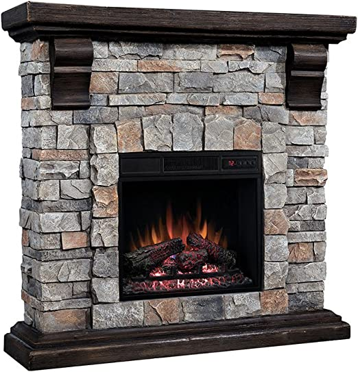Amazon Com Classic Flame Pioneer Stone Electric Fireplace Mantel