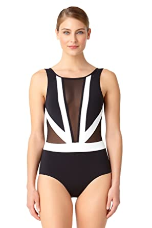 77fbe94cc4d Anne Cole Women's Hot Mesh Color Block Plunge One Piece Swimsuit-6-BKWH  Black/White at Amazon Women's Clothing store: