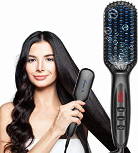 Hair Straightener Brush, Ionic Heated Hair Straightening Brush Comb with Auto Temp Lock 12 Heat Levels, 30s Fast Heating Straightening Brush Anti-scald Hot Hair Straightener Combs for Home, Salon,Gift